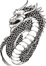 Powerful oriental dragon legless black and white vector illustration Royalty Free Stock Images