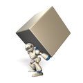 Powerful robot humanoid is carrying a big load easily Royalty Free Stock Photos