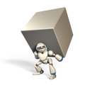 Powerful robot humanoid is carrying a big load easily Stock Images
