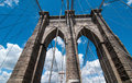 Powerful structure of brooklyn bridge center pylon on a beautifu beautiful summer day Royalty Free Stock Photography
