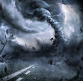 Powerful Tornado - Dramatic Destruction Royalty Free Stock Photo