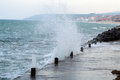 Powerful waves in the bulgarian sea resort of obzor Royalty Free Stock Photos