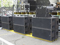 Powerfull concerto audio speakers amplifiers spotlights stage old equipment Stock Photo