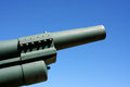 Powerfull military artillery gun and blue sky Stock Images