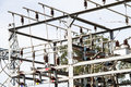 Powerhouse with cables and switches the high voltage insulators Stock Photos
