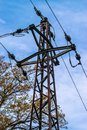 Powerline in the forest. Old style steel pole, rusted. Autumn. 04 Royalty Free Stock Photo