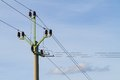 Powerlines against a background of the sky Royalty Free Stock Photography