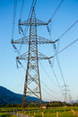 Powerlines the with the blue clear sky Royalty Free Stock Images