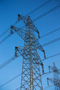 Powerlines the with the blue clear sky Royalty Free Stock Photo