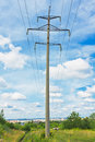 Powerlines and cloudy sky Royalty Free Stock Images