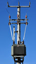 Powerlines and transformers Royalty Free Stock Photo