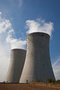 Powerplant chimneys detail of nuclear cooling tower Royalty Free Stock Photography
