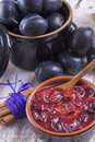 Powidl a close up photo of sweet fruits dessert plum jam also known as plum Stock Photo