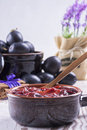 Powidl a close up photo of sweet fruits dessert plum jam also known as plum Stock Images
