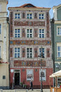 Pozan poland europe september red house in poznan poland on unidentified man Royalty Free Stock Image