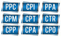 Ppc elements a group of graphical of various online marketing programs Royalty Free Stock Photography