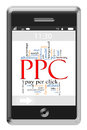 PPC Word Cloud Concept on Touchscreen Phone Stock Images