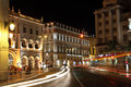 Praca d. Pedro IV at night, Lisbon Royalty Free Stock Photos