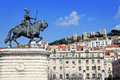 Praca da figueira lisbon portugal statue of joao i with sao jorge castle in the background in Royalty Free Stock Image