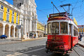 Praca do comercio in lisbon portugal march old tram the on march tram is the traditional form of public Stock Images