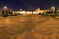 Praca do imperio at the hieronymites monastery at night in lisbon portugal Stock Photography