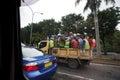 Pracownicy w ciężarówce Fotografia Stock