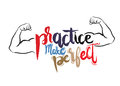 Practice makes perfect print. Modern brush lettering style Royalty Free Stock Photo