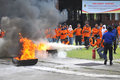 Practice putting out the fire with extinguishers light students in surakarta indonesia Stock Photos
