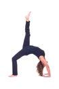 Practicing Yoga exercises / Yoga - Bridge pose - Urdhva Dhanurasana Royalty Free Stock Photo