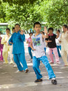Practise tai chi liuzhou china july many chinese people in the park Royalty Free Stock Photos
