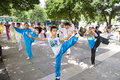 Practise tai chi liuzhou china july many chinese people in the park Royalty Free Stock Image