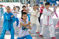Practise tai chi liuzhou china july many chinese people in the park Stock Image
