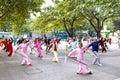 Practise taiji sword liuzhou china november many old people in the park Royalty Free Stock Photos
