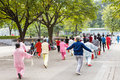 Practise taiji sword liuzhou china november many old people in the park Stock Images
