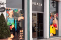 Prada luxury fashion boutique in italy s p a is an italian house specializing in ready to wear leather and Royalty Free Stock Images