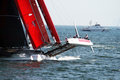 Prada show team luna rossa in action in the america s cup world series of naples in italy Royalty Free Stock Image