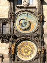 Prague ancient clock in unesco the czech republic Stock Photography