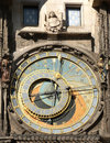 Prague ancient clock in unesco the czech republic Stock Photo