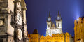Prague Astronomical Clock and Church of Our Lady before Tyn, night, Czech Republic Royalty Free Stock Photo