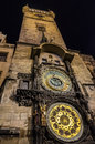 Prague astronomical clock historic on the city hall in s old town square Stock Images