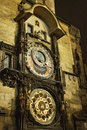 Prague astronomical clock at night Stock Images