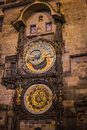 Prague astronomical clock at old town square very famous Stock Photography