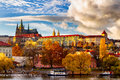 Prague autumn landscape view to saint vitus cathedral and castle Royalty Free Stock Photo