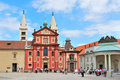 Prague. Basilica of St. George at Prague Castle Stock Photo
