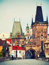 Prague beautiful view to mala strana and charles bridge czech republic Stock Image