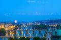 Prague bridges at night Royalty Free Stock Photo