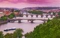 Prague Bridges on Vltava River Royalty Free Stock Photo