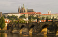 Prague Castle With Bridge Stock Photo