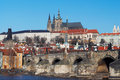 Prague castle and Charles bridge Stock Images