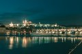 Prague Castle and Charles Bridge at night, Czechia Royalty Free Stock Photo